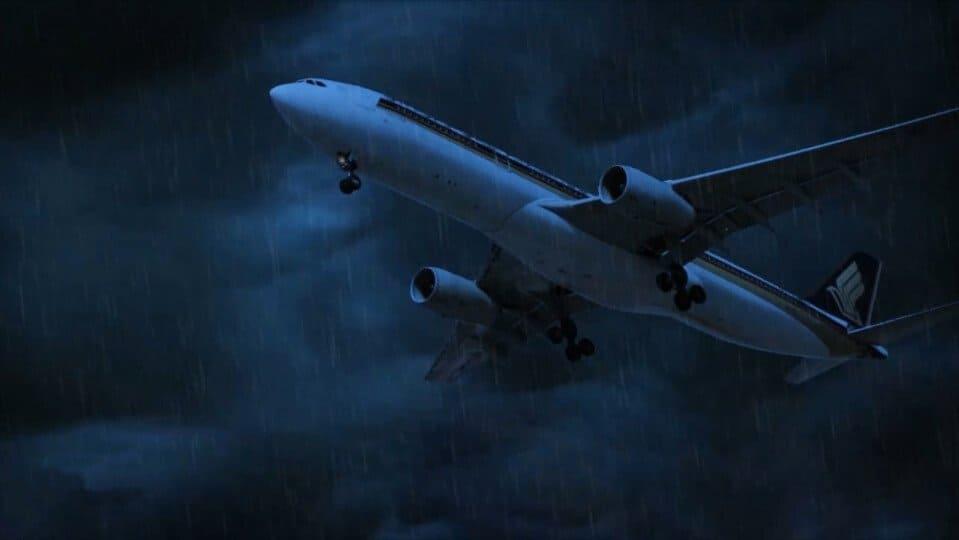 lightning hits plane